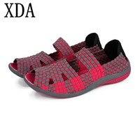 XDA 2018 Lato kobiet płaskie sandały Buty kobiet Tkane buty Płaskie sandały Buty klapki japonki kobiety wielu kolorach darmowa wysyłka