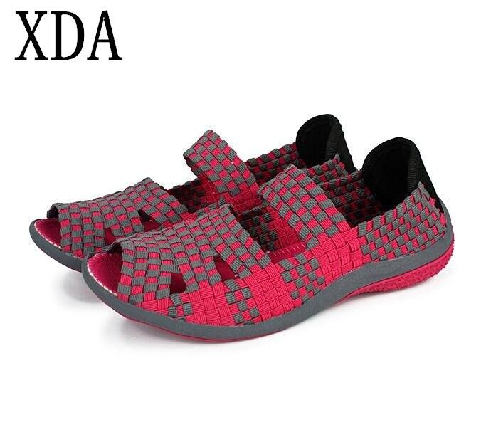 XDA 2018 Summer women flat sandals Shoes women Woven shoes Flat Shoes flip flops women multi colors sandals free shipping woven flat slide sandals
