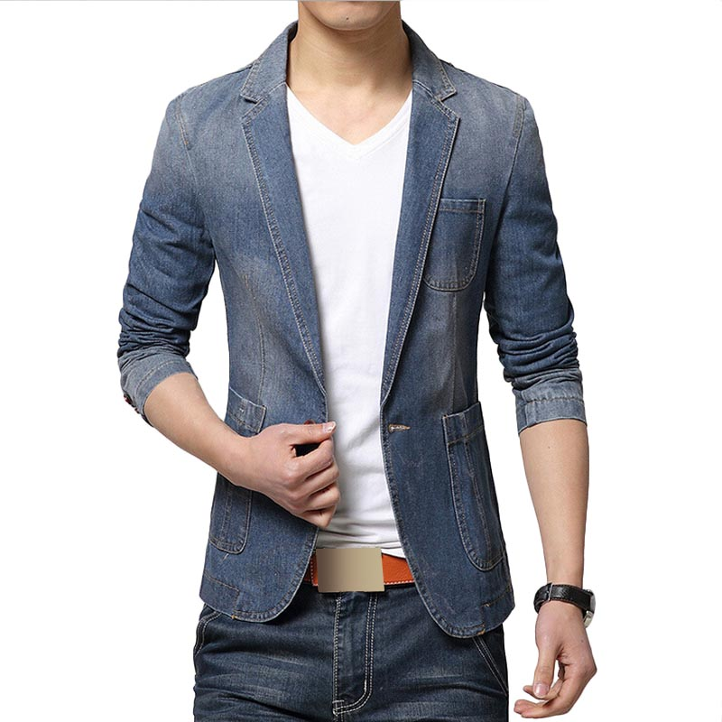 New Fashion Men Blazer Trend Jeans Suits Men's Casual Suit Jean ...