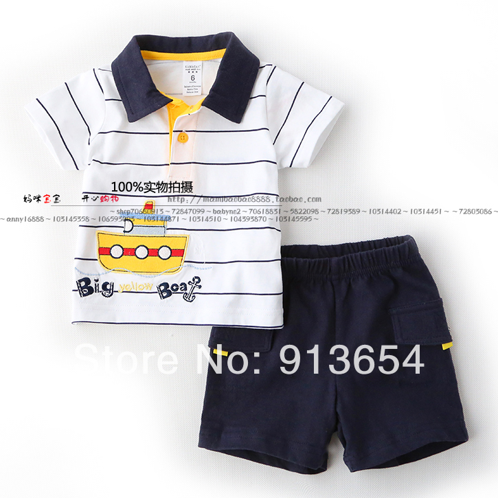 new 2014 summer baby clothing set child short sleeves t shirt + shorts sets baby boy casual Striped t-shirts sports suit