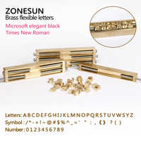 ZONESUN Brass letters CNC engraving mold hot foil stamp number alphabet mold symbol customized font DIY leather stamp die cut