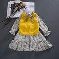 Flor Niñas Vestidos de Primavera de 2017, los niños Vestidos de Princesa para Las Niñas, Vestido de Partido del bebé Ropa de Los Cabritos + Corta conjuntos de Suéter de manga larga