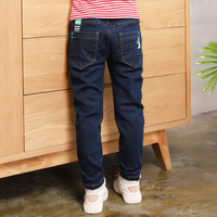 2019 Big Boy's Jeans Cotton Fashion Quality boy pants Elastic Trousers Teen age High Full Length Appliques Size 100 160