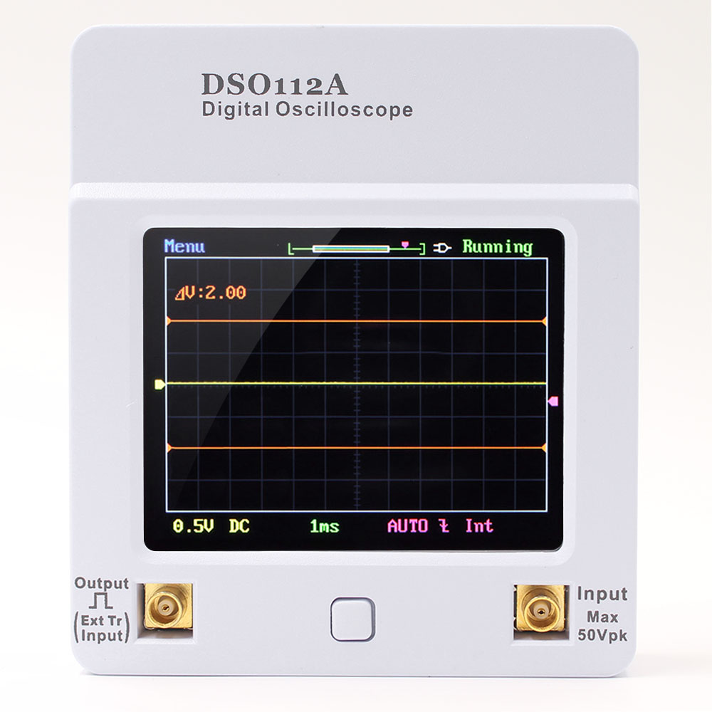 DSO 112A TFT Mini Digital Oscilloscope Touch Screen Portable USB Oscilloscope Interface 2MHz 5Msps new 1pcs dso138 2 4 tft digital oscilloscope kit diy parts 1msps with probe