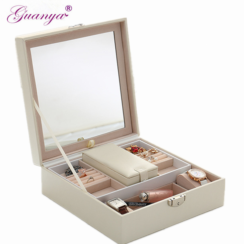 Guanya Solid Color Woodiness environmental PU leather Jewelry Box Makeup Travel Case Birthday Gift Ring Earrings
