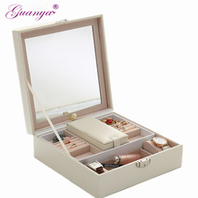 Guanya Solid Color Woodiness environmental PU leather Jewelry Box Makeup Travel Case Birthday Gift Ring Earrings etc. Container