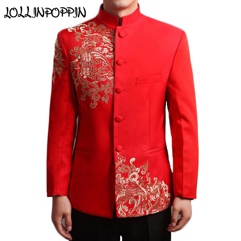 Chinese Style Wedding Suit Jacket Men Embroidery Patterns Tang Tunic Jacket Mandarin Collar Red Suit Jackets