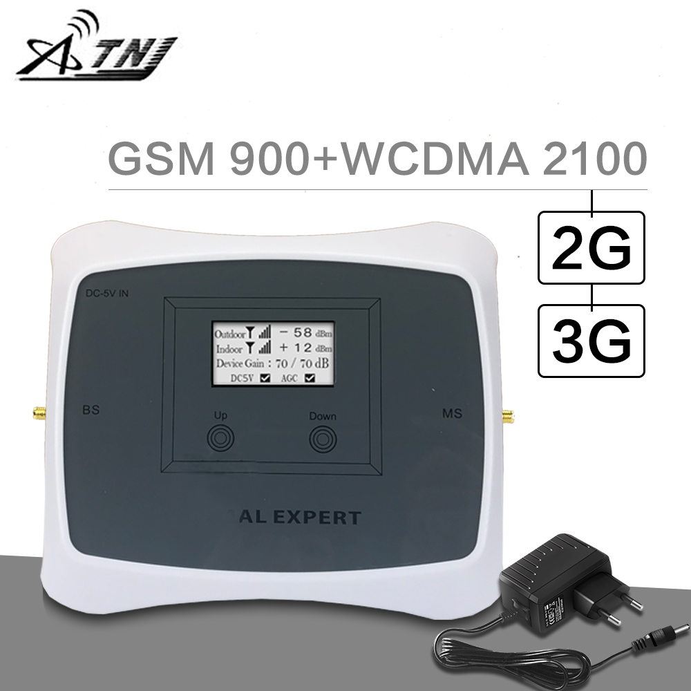 ATNJ 900 2100 Cellular Signal Booster GSM 900 3G WCDMA 2100 Dual Band Signal Repeater 70dB Gain Band 1 LCD Display 3G Amplifier