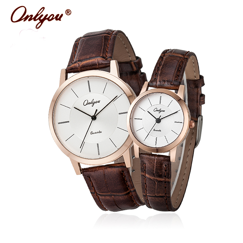 Onlyou Brand Lovers Watches Leather Quartz Watch Fashion Black Rose Gold Ladies Dress Watch Waterproof Mens Wristwatches 8866 onlyou lovers watches men top fashion brand women dress business wristwatch ladies waterproof gold watch quzrtz clock wholesale