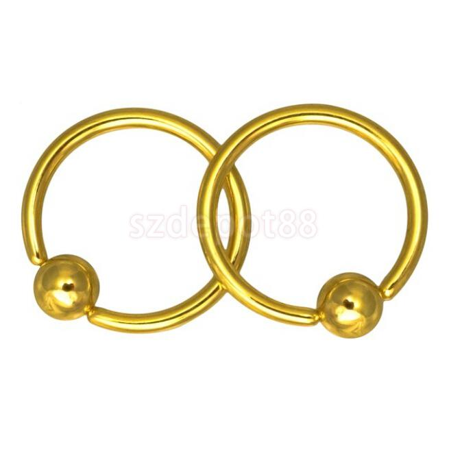 2pcs 4mm Ball Closure Captive Bead Nose Ear Helix Tragus Lip Ring Golden