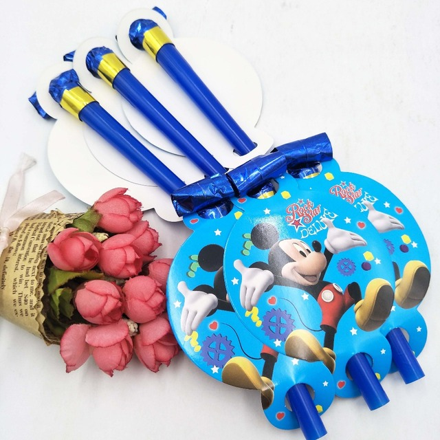 6pcs Personalized Mickey Mouse 2nd Birthday Decorations Ideas Party Blowouts For 13th Children Favors