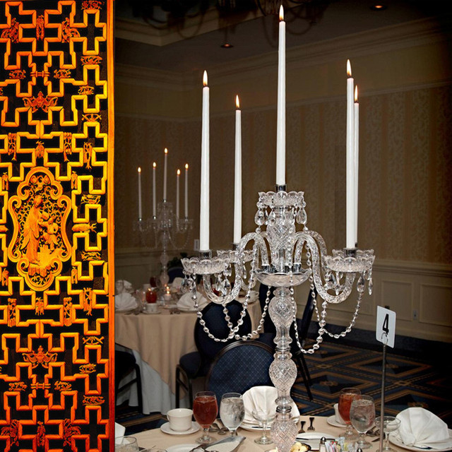 Big Restaurant crystal glass table lamp & candelabra wedding led tall candle holder party dining room crystal candlestick light