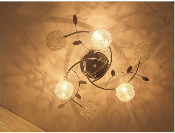 Aluminium Wire Ball Ceiling Light Crystal Lamp Segmented Control Living Room Fixture