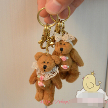 Beautiful 7cm 2pcs/lot cute mini lovely brown teddy bear plush keychain toy anime bear dolls girls birthday gift