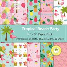 DIY Flamingo Scrapbooking paper pack of 20sheets handmade craft paper craft Background pad(China)
