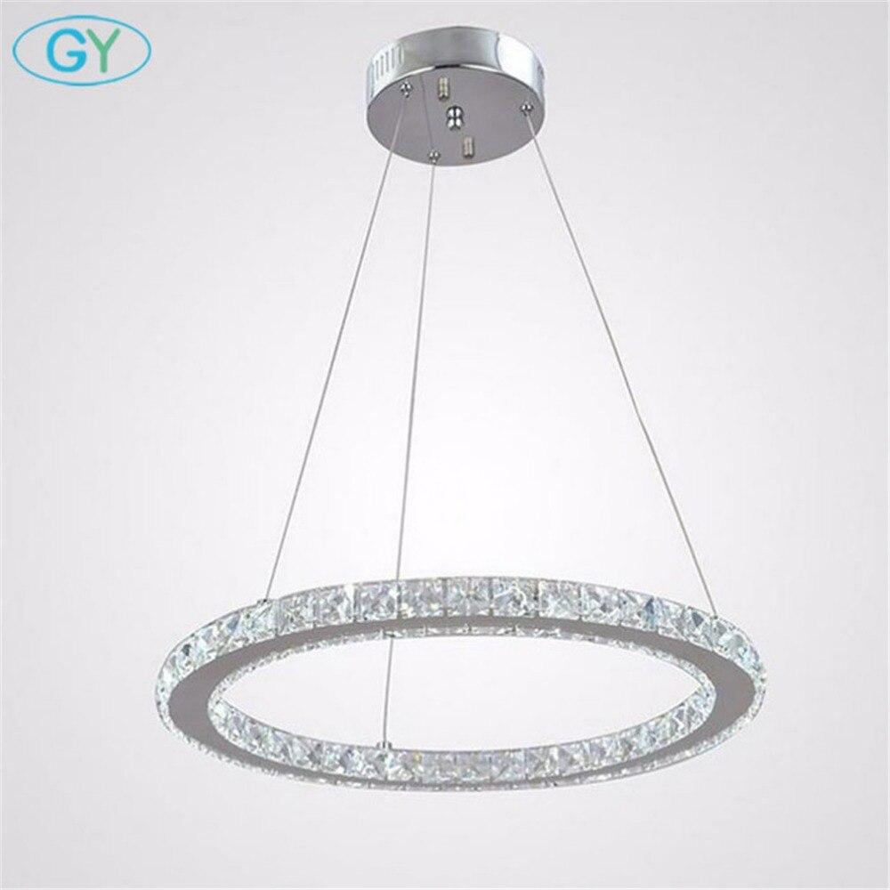 Modern Chrome Chandelier Crystals Diamond Ring Led Lamp: Modern 18W D40cm LED Ring Chandelier LED Circle Crystal