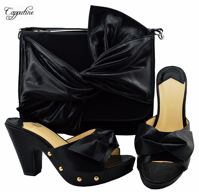 Charming party set black pump shoes and bag set nice matching for party dress YM006Charming party set black pump shoes and bag set nice matching for party dress YM006