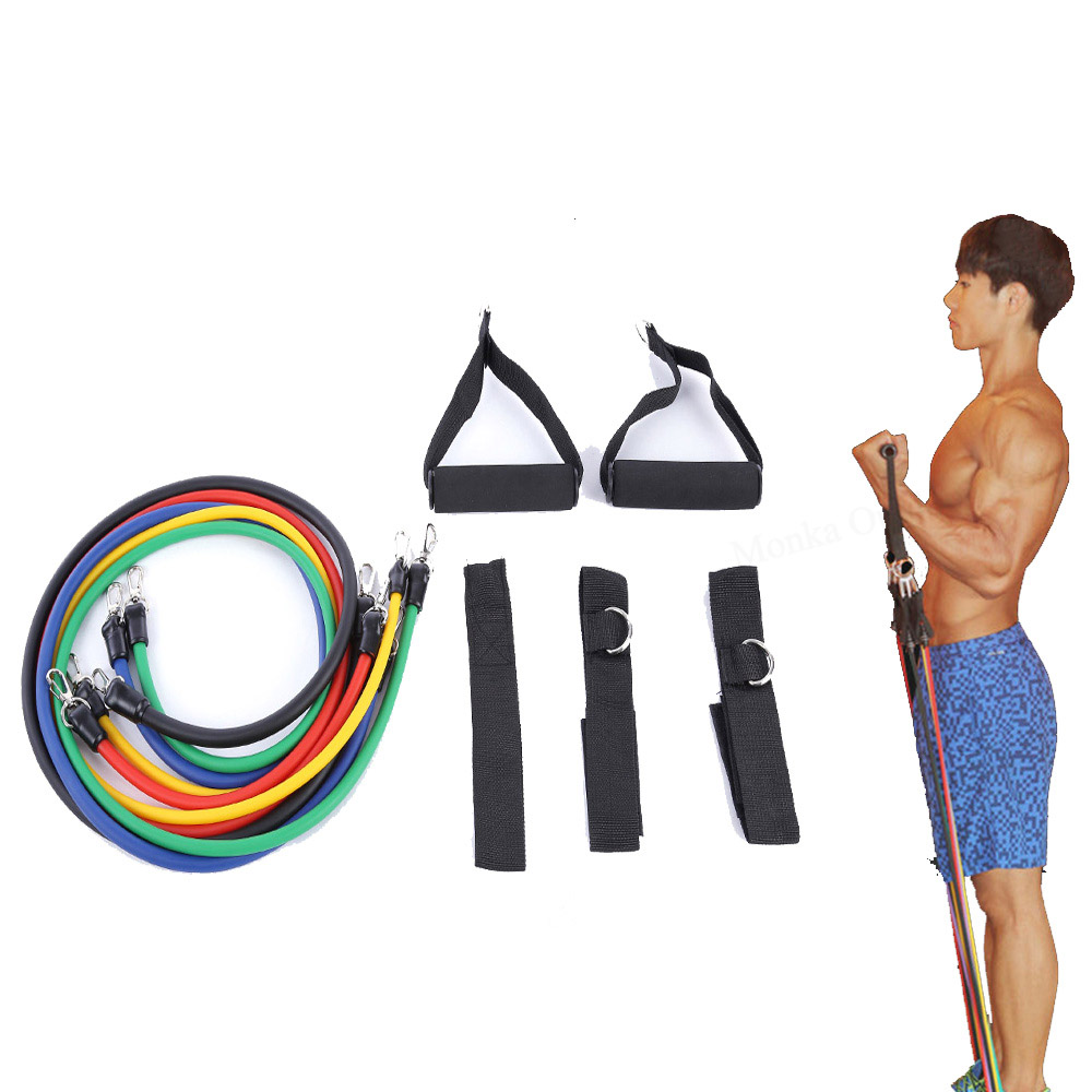 LEAJOY 11pcs/set Latex Tubing Expanders Exercise Tubes Strength Resistance Bands Pull Rope Pilates Crossfit Fitness Equipment