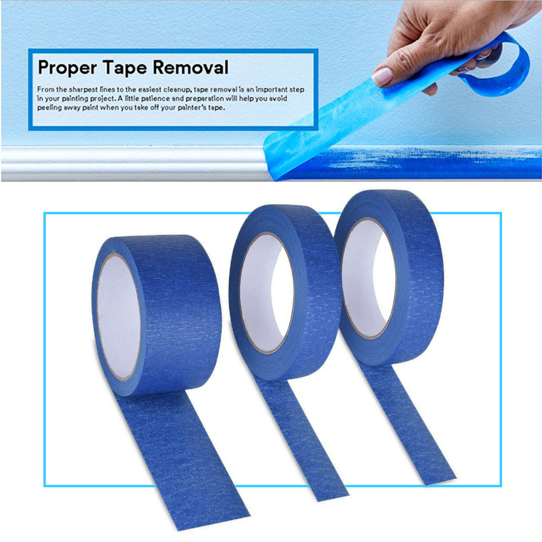 2019 New Blue Painter Tape Paper Adhesive House Painting Peeling Peel Tape Easy To Tear Masking Tape