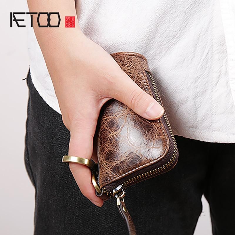AETOO En Cuir femmes de clé sac changement sac hommes de voiture télécommande paquet zipper Grande Capacité Clé sac
