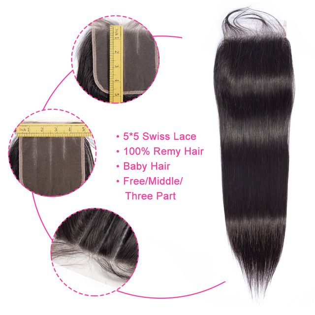 Gabrielle 5x5 Lace Closure Brazilian Straight Free/Middle/Three Part Remy Hair Closure with Baby Hair 100% Human Hair 8-22inch