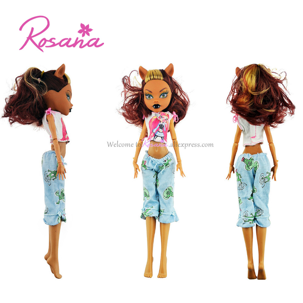 Rosana Clothes for Monster High Doll Dress Up Casual Wear Clothing Suit Party Skirt Blouse Trouser Pants Outfit Dolls Accessorie fashion outfit daily casual wear halter backless blouse jeans trousers handbag shoes clothes for barbie doll accessories gift