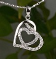 Guarantee Plain 925 Sterling Silver,   CZ, cubic  Heart  pendant  26mm, 2g, PE34951