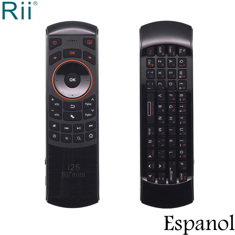 Rii i25 Espanol Spanish Keyboard Mini 2.4GHz Wireless Keyboard Air Mouse with IR Function for Android TV Box/Mini PC/Laptop arabic keyboard rii mini i25 k25 fly air mouse 2 4ghz wireless keyboard remote controller for android tv box htpc pc tablet