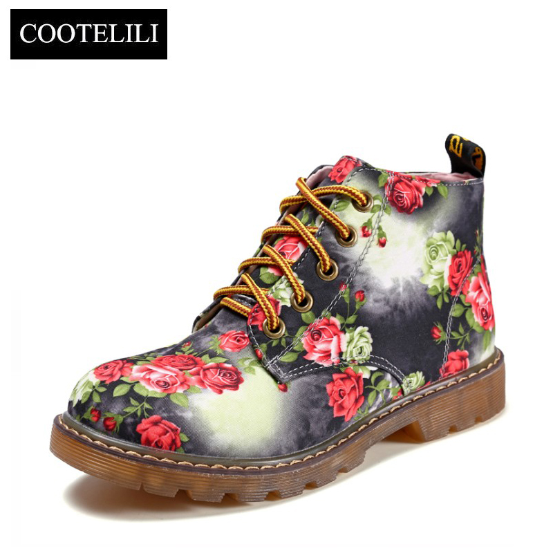 Image 2 - COOTELILI Autumn Women Ankle Boots Low Heels Flower Flats Casual Shoes Woman Oxfords Lace Up Motorcycle Booties Plus Size 40-in Ankle Boots from Shoes