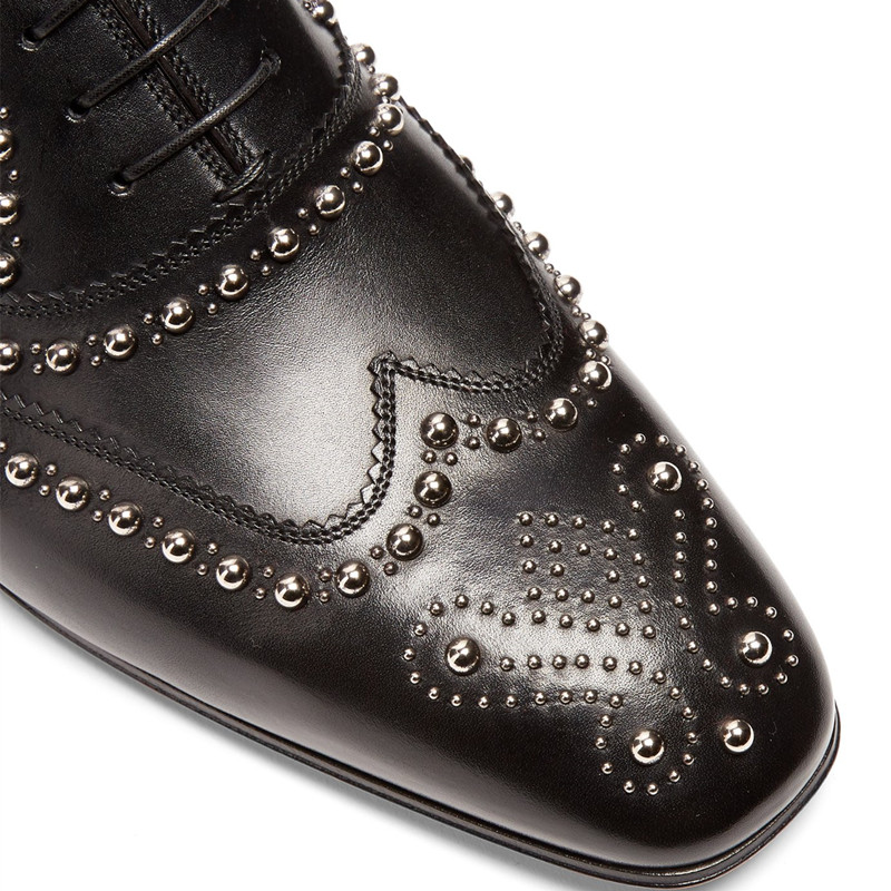 Black Leather Men Dress Shoes Rivets Lace Up Loafers Men Driving Flats Business Wedding Dress Shoes zapatos hombre - 4