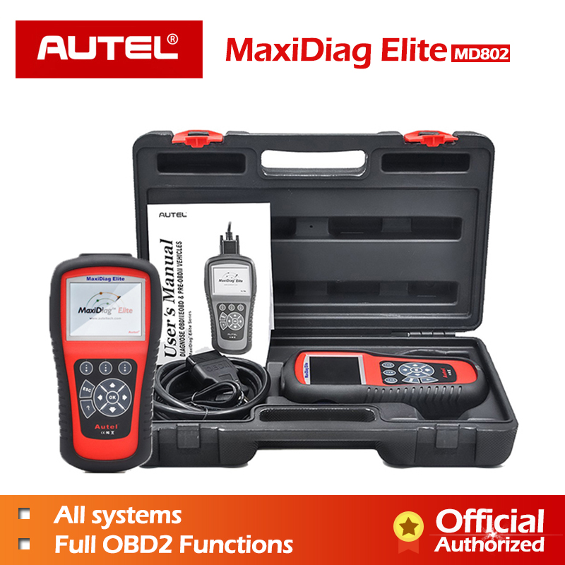Autel MaxiDiag Elite MD802 Full System OBD2 Scanner Code Reader with Live Data EPB Multifunctional Scan Tool Oil Service Reset