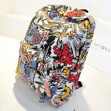 Thenew student bag cartoon graffiti printing original wind canvas backpack Korean wave backpack travel baggift for men and women anime one piece cosplay monkey d luffy student bag college wind shoulder bag men and women backpack graffiti canvas bag