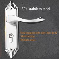 304 stainless steel lock solid wood door lock room indoor bedroom door lock single tongue lock handle universal type