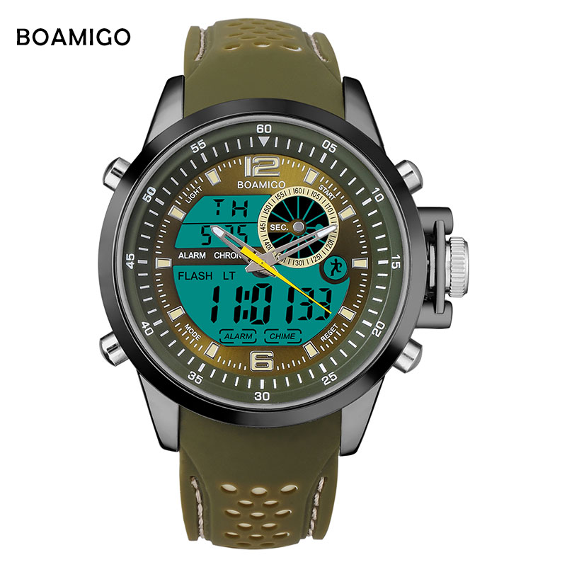 Men Sports Watches  BOAMIGO Brand Quartz Watches Analog Digital LED Watches  Rubber Band 30M Waterproof Wristwatch reloj hombre alike a1278 waterproof digital quartz sport wristwatch timepiece with rubber band for men blue