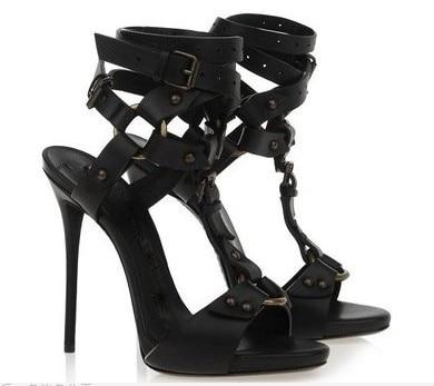 ФОТО  2017 summer high heel sandals super high thin heels open toe narrow band buckle&rivet decoration women casual shoes black brown