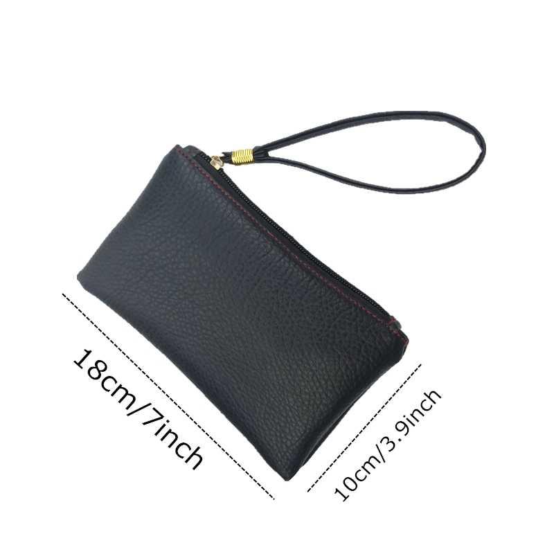 2018 New Fashion Solid Simple Slim Men Women Handbag Key Wallets PU Leather Hand Bag Zipper Clutch Coin Purse Phone Wristlet