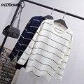 Suéteres de rayas 2017 Nuevo Estilo Más Tamaño 3XL 4XL 5XL O-cuello Ocasional de Tejer Suéteres Suéter QYL192