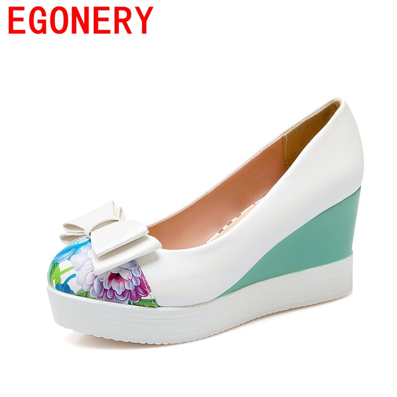 EGONERY 2018 hot sale butterfly-knot flower round toe slip-on elegant convenient pumps wedges high heels women spring shoes egonery shoes 2017 spring and autumn concise wedges butterfly knot pumps simple lace up sweet round toe women fashion high heels