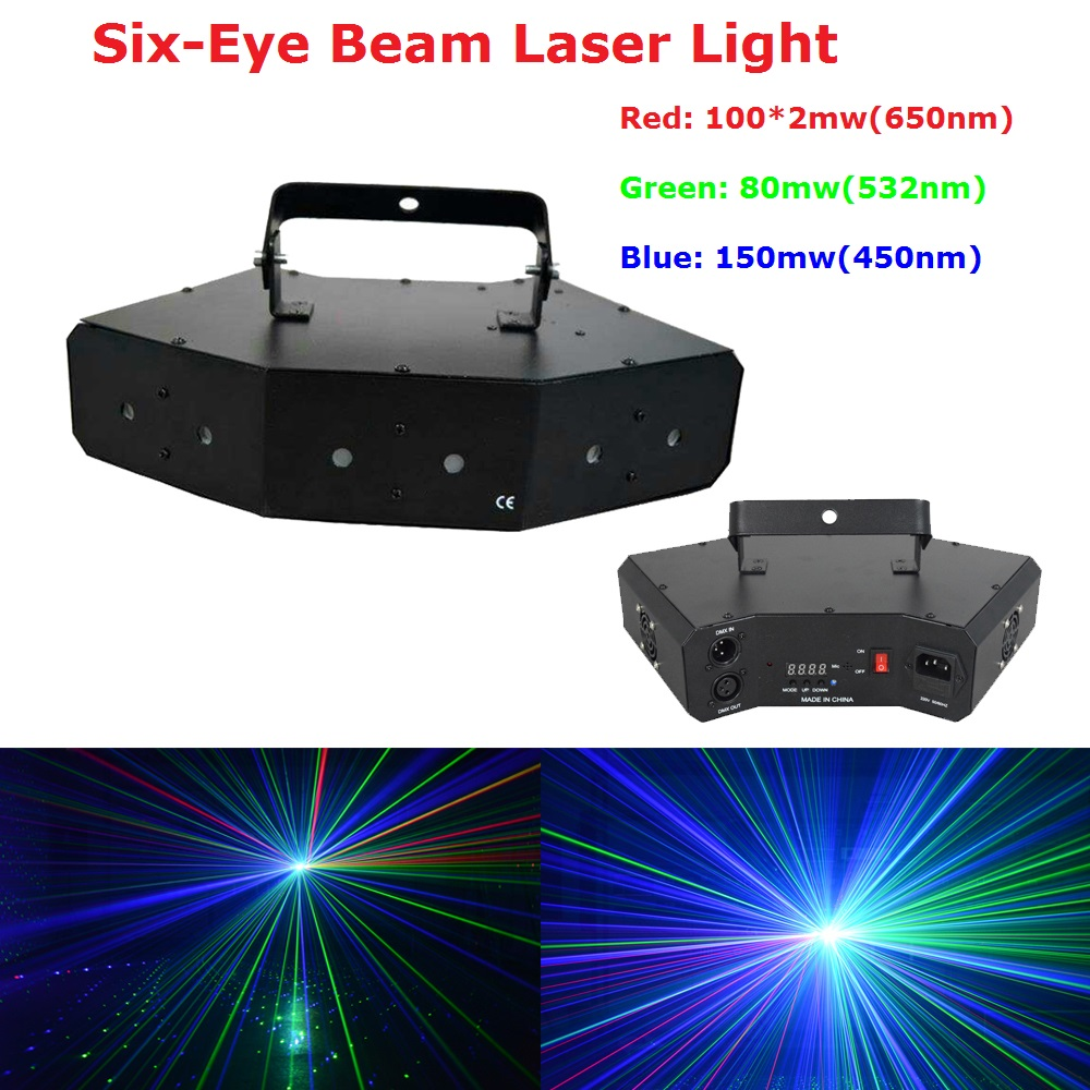 Best Price Six-Eyes 430mW RGB Full Color DMX Laser Projector Disco DJ Stage Party Lighting Professional Shows Equipments best price 5pin cable for outdoor printer