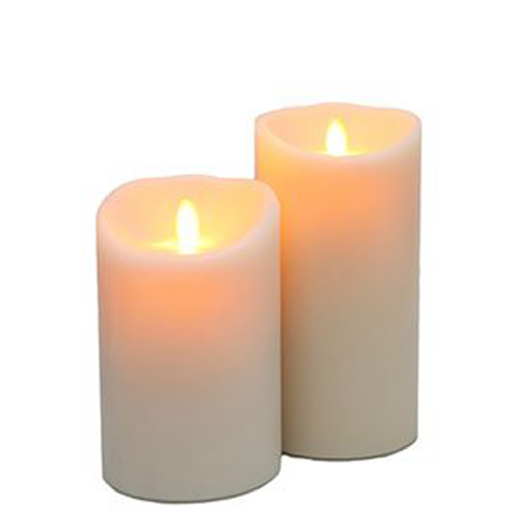 Ksperway Set of <font><b>2</b></font> LED Moving Flame Real Wax Pillar Candles Ivory White (3.<font><b>5</b></font><font><b>*</b></font><font><b>5</b></font> and 3.<font><b>5</b></font><font><b>*</b></font>7 Inch) image