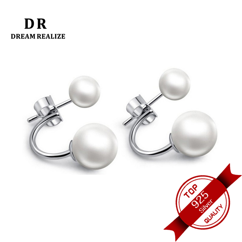 DR Real White Natural Pearl 925 Silver Stud Earrings Fine Jewelry Pearls Earrings for Women Size 6-8 MM High Quality(China)