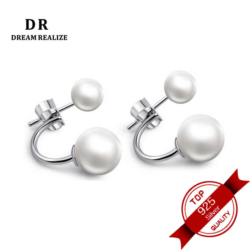 DR Real White Natural Pearl 925 Silver Stud Earrings Fine Jewelry Pearls Earrings for Women Size 6-8 MM High Quality