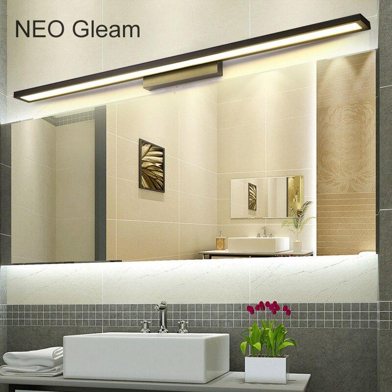 NEO Lueur Blanc/Noir Moderne salle de bains/wc LED avant miroir lumières salle de bains En Aluminium miroir lumières 0.4-1 m 8-24 W 85-265 V