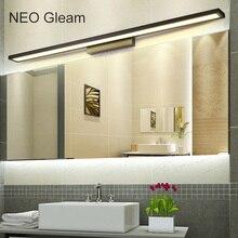 NEO Gleam أبيض/أسود الحمام الحديث/المرحاض LED أضواء مرآة أمامية مرآة ألومنيوم الحمام أضواء 0.4 1 متر 8 24 واط 85 265 فولت