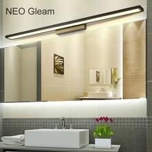 NEO זוהר לבן/שחור חדר רחצה המודרנית/שרותים חדר רחצה אורות מראה LED קדמי אלומיניום אורות מירור 0.4 1 m 8 24 W 85 265 V