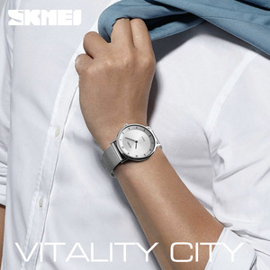 Image 5 - SKMEI prosty Ultra cienki zegarek kwarcowy siatka ze stali nierdzewnej zegarki męskie z paskiem moda wodoodporny zegar mężczyźni casualowe zegarki na rękę