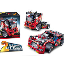 608pcs Race Truck Car 2 In 1 Transformable Model Building Block Sets Decool 3360 DIY Toys Compatible With Technic(China)