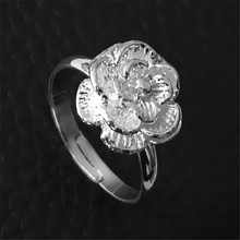Fashion Elegant Flower Ring Lovely Women Romantic Cherry Blossoms Rings Silver Plated Adjustable Rings Free Size Trendy Jewelry