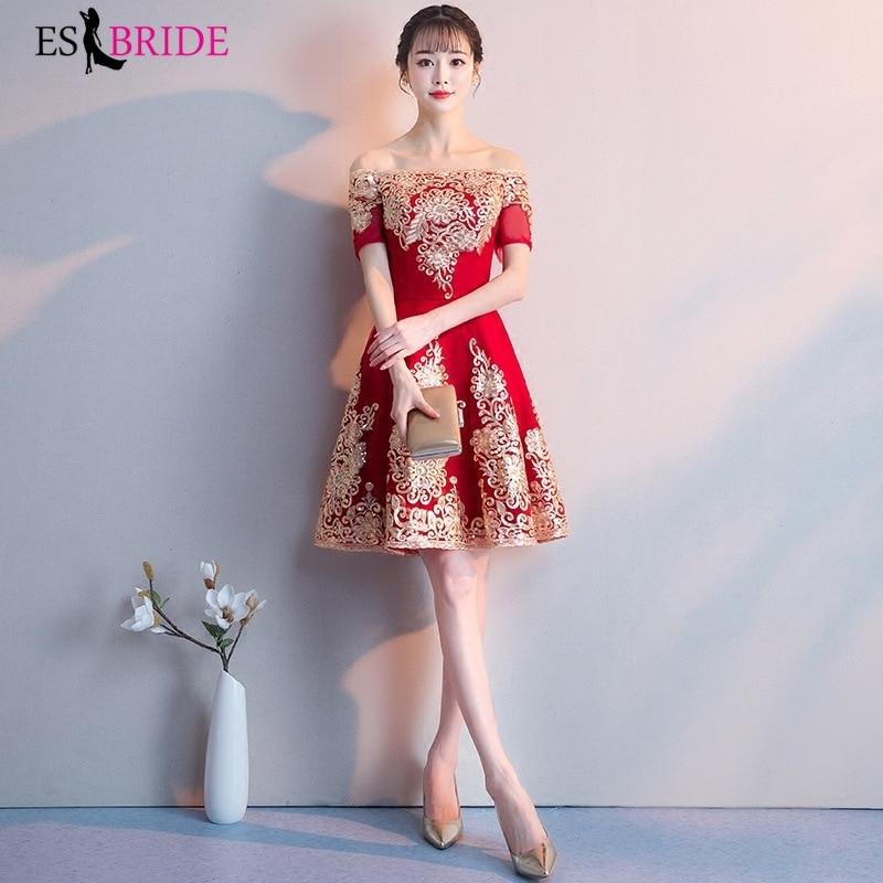 Luxury Gold Appliques Vestidos De Fiesta De Noche Formal Red   Evening     Dresses   Elegant 2019   Evening     Dress   Robe De Soiree ES1982