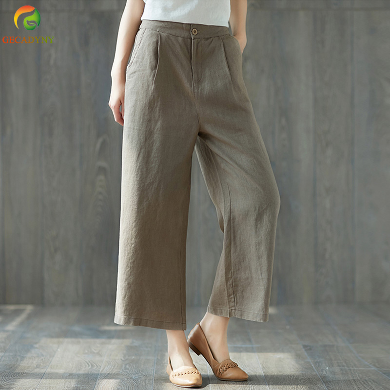 Ethnic Chinese Harem Pants Womens Loose Wide Leg Pants Ankle Length Elastic Waist Linen  ...